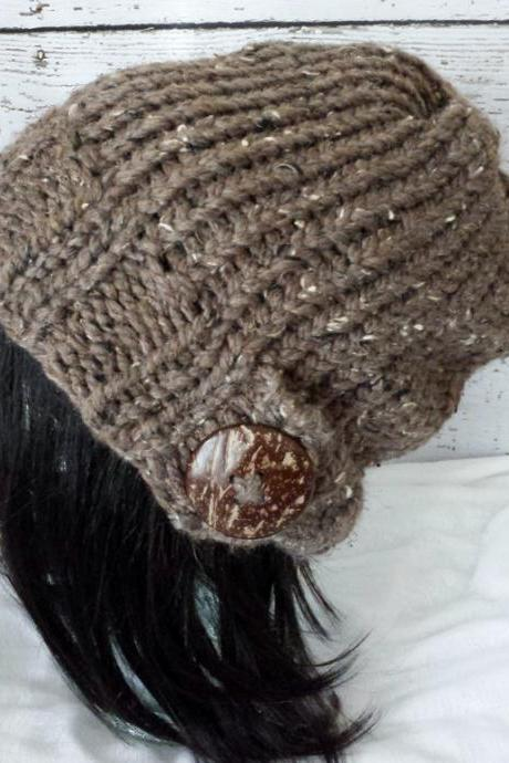 Knit Slouchy Hat Hand Knit Slouch Beanie Natural Coconut Button Warm Winter Hat Barley Brown Made to Order