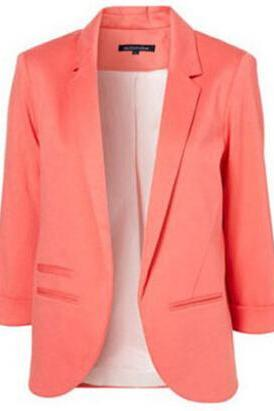 Women Candy Color Slim Buttonless Three Quarter Sleeve Coat Suit jacket blazer 6 colors