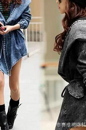 Trendy Casual Women Lady Jean Denim Trench Coat Big Hoodie Hooded Outerwear