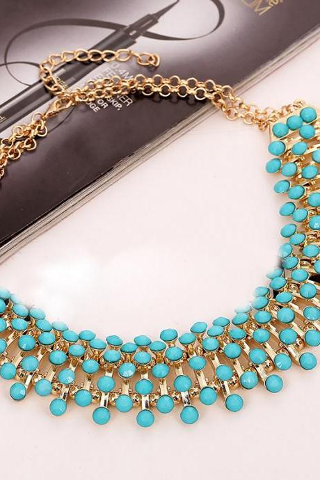 Fashion Blue Gems Decorated Metal Necklace