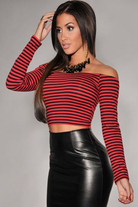 New Style Bateau Neck Long Sleeves Red Polyester Striped T-shirt