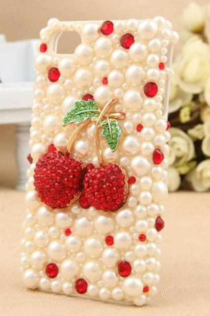 Case for iphone 4/4s 5/5s lovely red cherry Strawberry pearl rhinestone for wholesale bulk lot