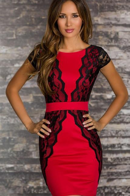 Skinny Black and Red Color Matching Above Knee Dress