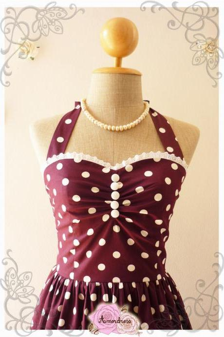 Wine Dress Purple Tea Dress Classic Polka Dot Dress Bridesmaid Summer Dress Eggplant Dress Scarlet Purple Party Dress-Range XS-XL, Custom