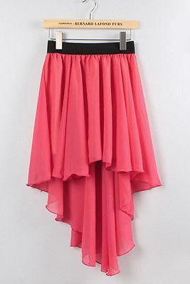 Hot Pink Women's Asymmetric Dovetail Chiffon Short in Front Back Long Skirt Dress