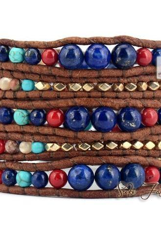 5 Layered Multi Graduated Mixed Stones with Gold Nuggets Beaded Wrap Bracelet