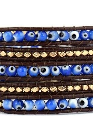 Blue Eye Lagoon 5X Leather Beaded Wrap Bracelet