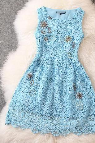 Fashion Beads Lace Sleeveless Dress