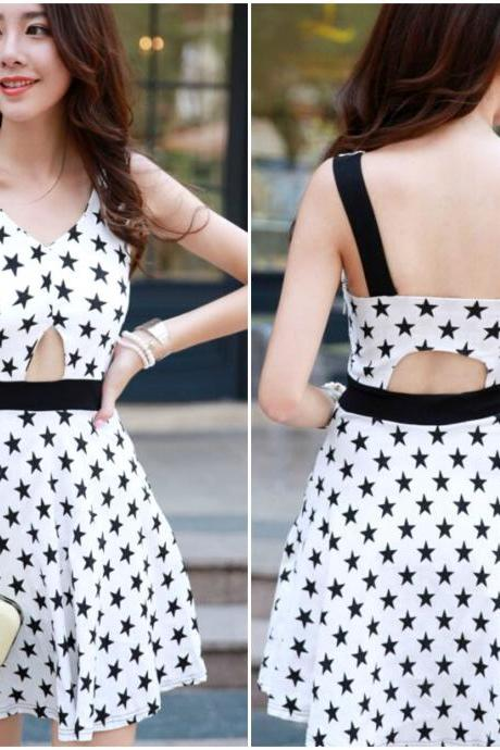 Cute Star Pattern Sleeveless White Dress