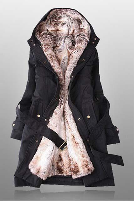 Free Shipping High Quality Woman Solid Fleece Zipper Closure Hooded Coat - Black