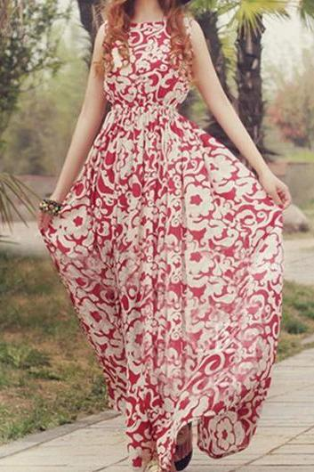 High Quality Round Neck Sleeveless Printed Chiffon Dress