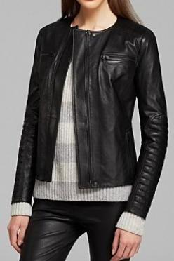 WOMENS LEATHER JACKET, BLACK BIKER LEATHER JACKETS