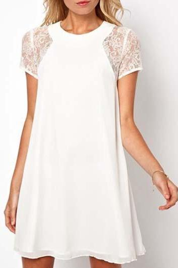 Pure Lace Sleeve Solid A Line Dress - White
