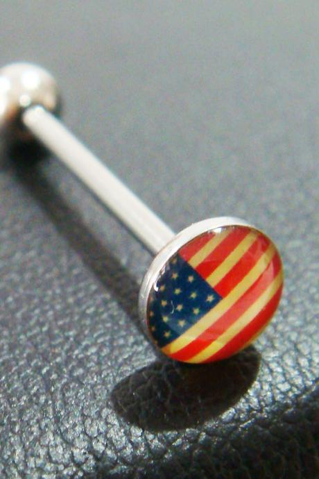 GIFT 14g~18mm Vintage US USA America Flag Tongue Rings Ring Stud Bar Barbell Body Piercing
