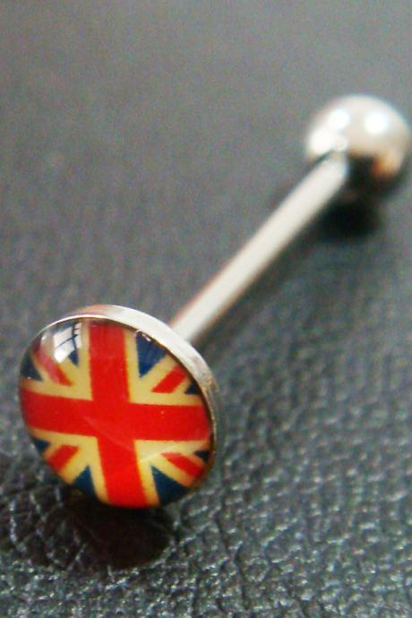 GIFT 14g~18mm Vintage UK Flag Tongue Rings Ring Stud Bar Barbell Body Piercing
