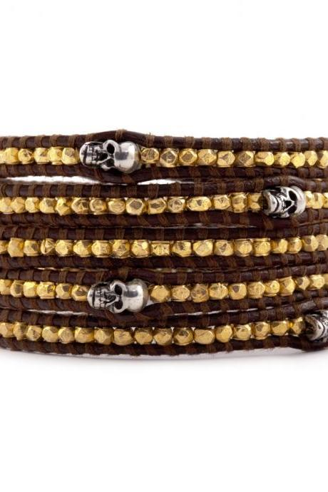 Golden Nuggets Silver Skull Leather 5X Wrap Bracelet