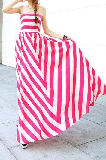 Fashion Open Back Striped Dress for Woman - Rose& White
