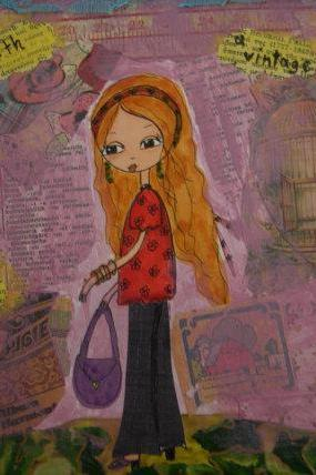 I am a modern girl with vintage soul - Mixed media original painting and collage on watercolor paper