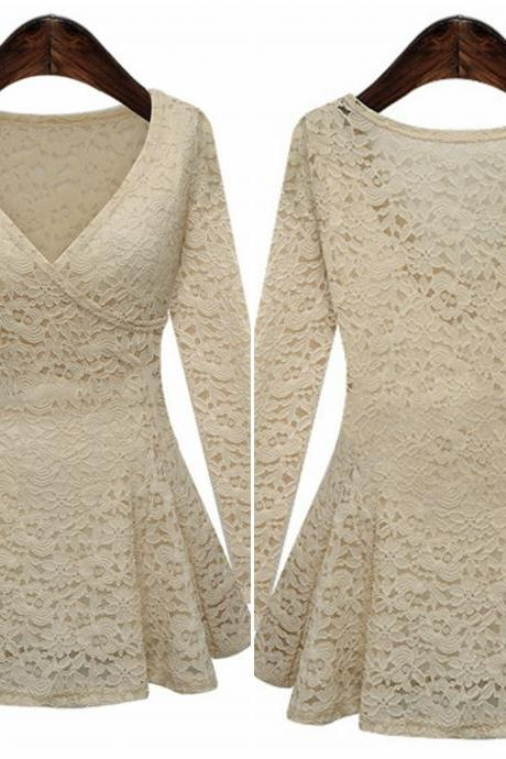 Elegant V neck Lace Apricot Top