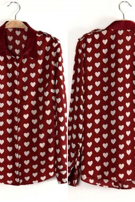 Preppy Heart Pattern Wine Red Long Sleeve Top