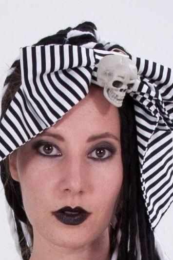Black and White Striped Bow with Skull Hairbow Ponytale holder Halloween Costume Accessory Goth Gothic Spooky