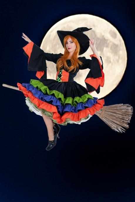 Womens Witch Costume Halloween Dress Ruffles Flared Sleeves Custom Size Including Plus Sizes High Quality Costume Black Orange Purple Green