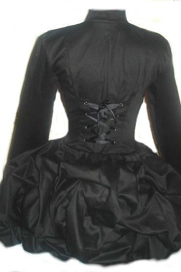 Black Steampunk Jacket Goth Loli Military Bustle Corset Jacket Lolita Gothic Victorian Womens Custom Size Plus Size Made to Measure
