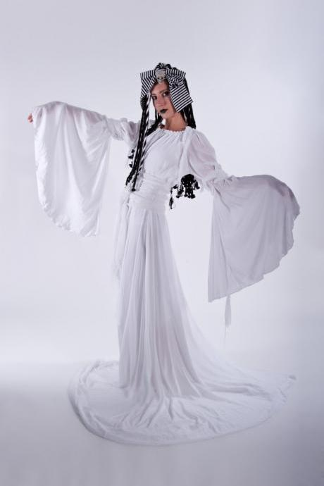 Mummy Bride of Frankenstein Ghost Zombie Gown Vampire White Dress Spooky Halloween Costume Custom Made to Measure including Plus Size