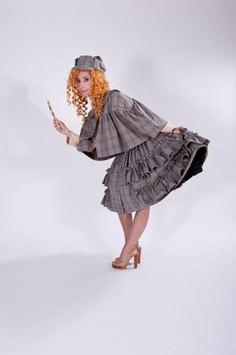 Cute Sherlock Holmes Halloween Costume Steampunk Dress Cape and Deerstalker Hat Couture Costume