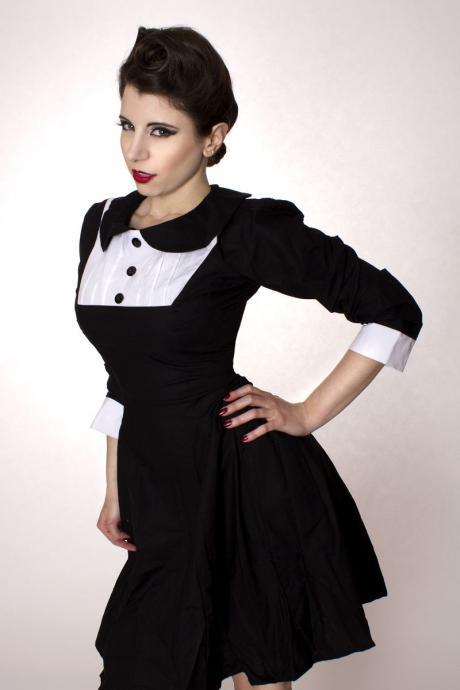 Gothic Lolita Black Aline Cotton Dress with Peter Pan Collar Long Sleeves Wednesday Aadams Lenore Custom Made including Plus Sizes