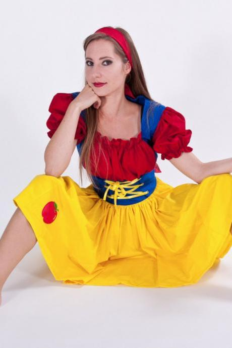 Snow White Halloween Costume Dress Custom Made to Measure Plus Size Womens Handmade Costume Yellow Red Blue
