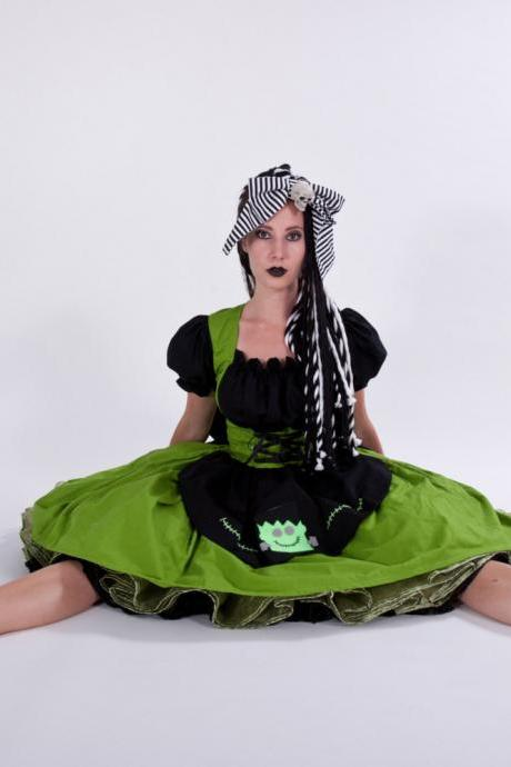 Cute Frankenstein Frankie Halloween Costume Bride of Green & Black Dress Custom Size including Plus Size Cosplay Gothic Lolita