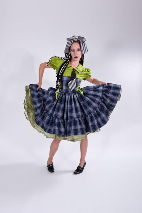 Cute Frankenstein Monster Frankie Stein Zombie Dress High Quality Halloween Costume Limited Edition Gothic Plaid Dress Custom Size