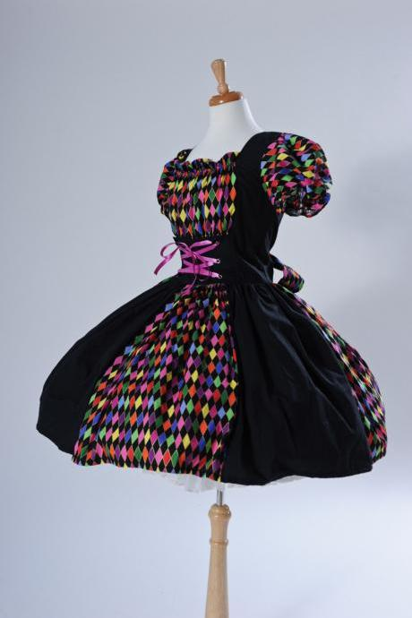 Harlequin Dress Circus Clown Mardi Gras Court Jester Halloween Costume Custom Size Made to Measure including Plus Size