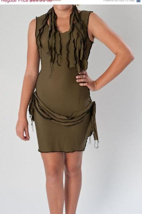 CLEARANCE 50% OFF Sexy Zombie Costume Dress and Scarf Army Green Wiggle Dress Pin Up Halloween Costume