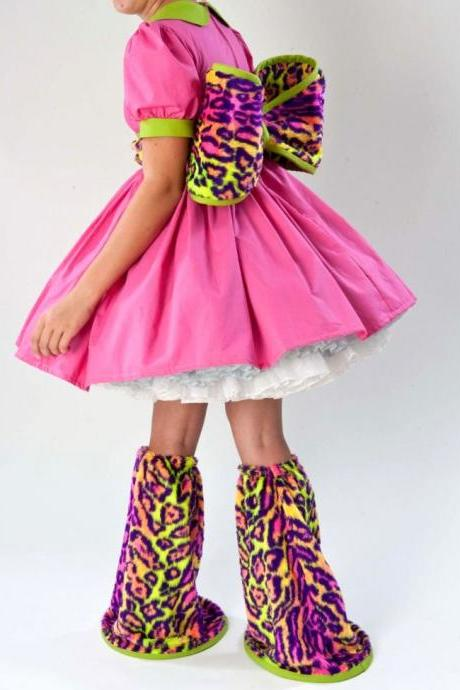 LAST Babydoll Dress and Legwarmers Hot Pink Acid Green Neon Leopard Faux Fur Adult Halloween Costume Custom Size Including Plus