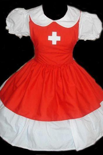 Cute Nurse Dress and Apron Red and White Custom Size Plus Size Handmade High Quality Halloween Costume