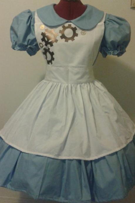 Steampunk Alice in Wonderland Costume Gothic Lolita Dress Apron Halloween Costume Cosplay