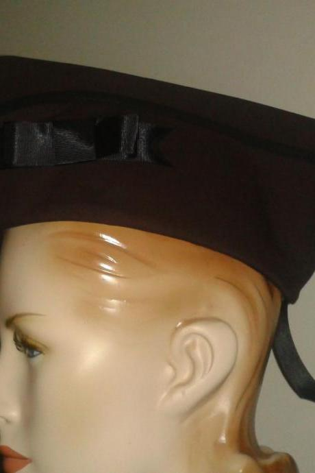 Military Hat Steampunk Dieselpunk Hat Brown Vintage Style WWII Flight Cap with Bow Garrison Hat Wedge Cap Women Men Unisex