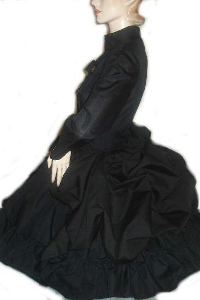 Steampunk Dress Black Steampunk Dress Military Bustle Dress with Full Skirt and Gears Halloween Costume Custom Size Lolita Gothic Victorian