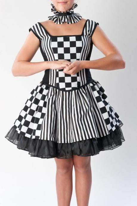 Harlequin Circus Skirt with Petticoat, Bodice, Neck Collar Goth Gothic Womens Medium Large Halloween Costume