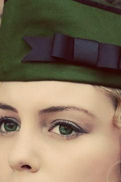 Steampunk Military Hat with Bow Dieselpunk Army Green Vintage Style WWII Flight Cap Garrison Hat Wedge Cap Unisex Mens Womens