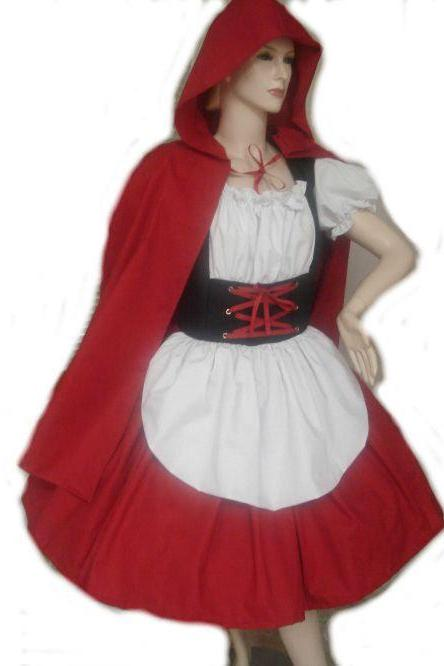 Little Red Riding Hood Halloween Costume Dress and Cape Red White Black Custom Size Made to Measure including Plus Sizes