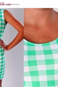 CLEARANCE 50% OFF Green Wiggle Dress Minidress Rave Mini Dress Green and White Checkered Gingham Plaid Stretch Knit Dress Pinup Pin up