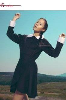 CLEARANCE 50% OFF Black Wednesday Aadams Jacket Gothic Lolita Jacket with White Peter Pan Collar and Cuffs Womens Small