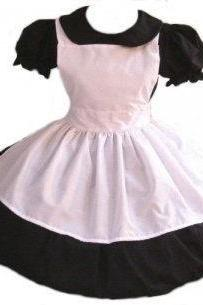 Gothic Alice in Wonderland Dress and Apron Goth Lolita Cosplay Costume Custom Size Plus Size