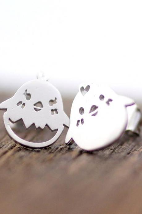 cute and unique Chick Stud Earrings in silver