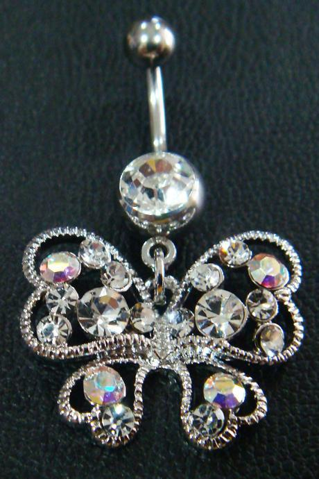 14g 3/8 Butterfly Belly Button Navel Rings Ring Bar Body Piercing Jewelry