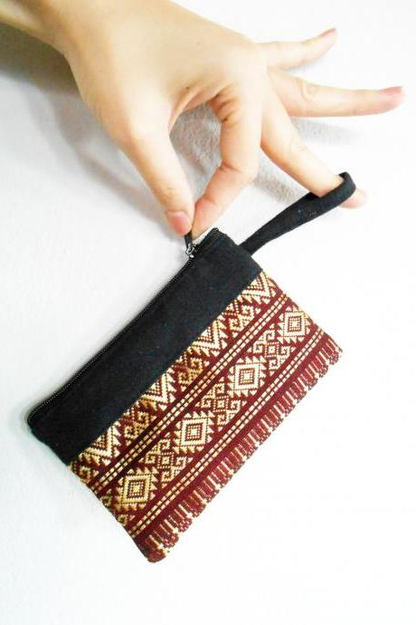 Dark Red Coin Pouch, Change Purse, Small Bag - Thai Pattern Embroidery Fabric Handmade. (KP1004-RE)