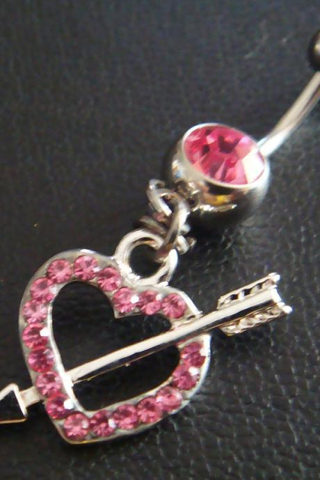 14g 3/8 Heart LOVE arrow Belly Button Navel Rings Ring Bar Body Piercing Jewelry